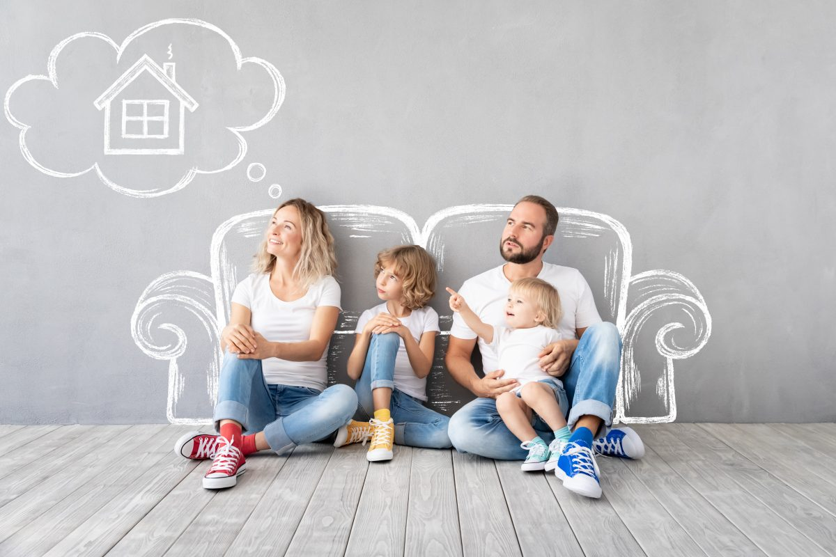 family with dream bubble cartoon about where to live